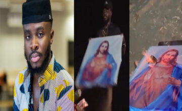 BLASPHEMY: POPULAR GHANAIAN MUSICIAN SETS PICTURE OF JESUS ABLAZE