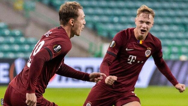 Celtic suffered a third successive home defeat for the first time in 30 years after a humiliating Europa League Group H collapse against Sparta Prague.