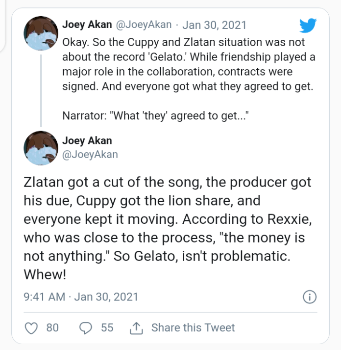 """UPDATE: """"DJ Cuppy And Zlatan Beef Was Not About The Record 'Gelato.' – Rexxie Reveals Reason For Fallout"""