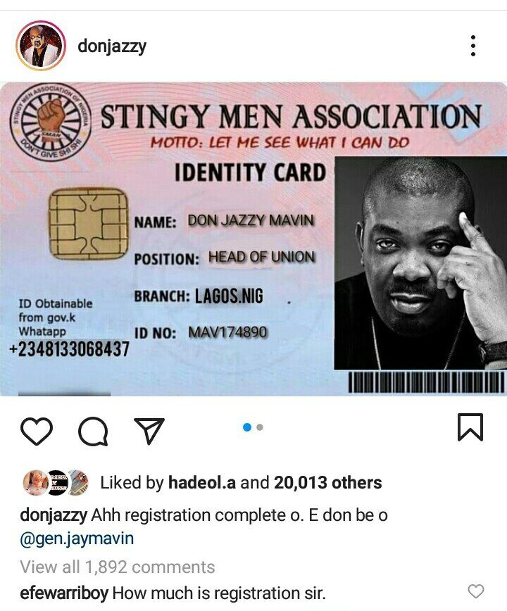 Don Jazzy Joins 'Stingy Men Association,' Becomes President [PHOTO]