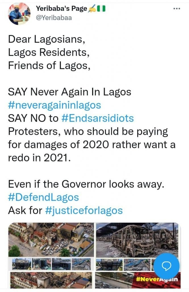 """EndSARS: """"Activists"""" Demand That Lagos Must Not Be Burnt Down Again (Photos)"""